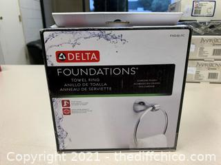 Delta Foundations Towel Ring in Chrome (J79)