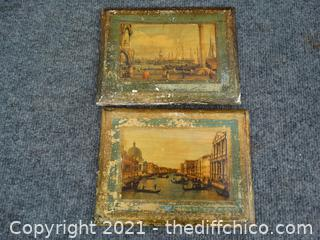 2 Paintings On Wood Made In Italy