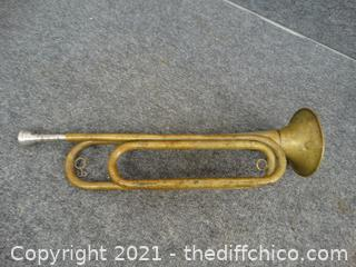 Vintage U S Military Brass Bugle Stamped