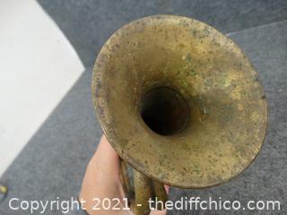 Vintage U S Military Brass Bugle Stamped