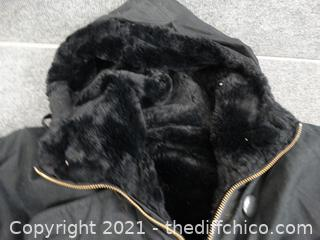 Nice Black Fur Lined Coat unknown size med -large