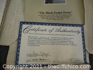 The Black Footed Ferret Numbered Plate With COA