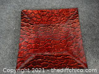 Black & Red Square Plate 10.5 x 10.5""