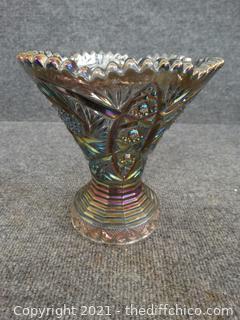 Black Carnival Glass Vase