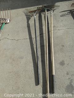 3 Metal Rakes