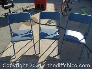3 Metal Fold Up Chairs