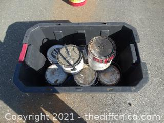 Tub Of Misc Paint 7 cans not Full