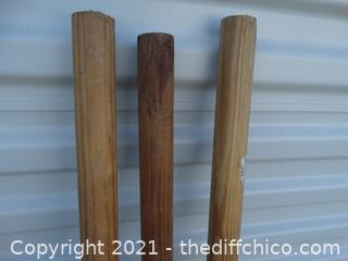 """5 Wood Dowels 6' 3"""" x 1"""" x 2"""""""