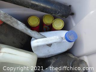 Gray Tub Of Chemicals