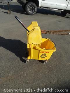 Rolling Yellow  Mop Bucket