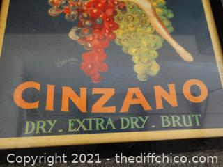 "Cinzano Dry Extra Dirty Brut 23"" x 17""  Wine Picture"