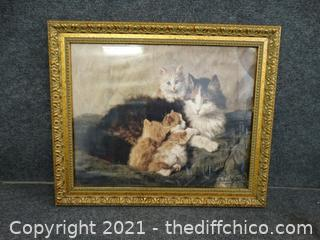 """Signed Momma Cat Picture 24"""" x 19 1/2"""""""