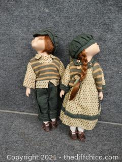 Boy And Girl Porcelain Dolls