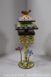 Kelvin Chen Enamel Bird House Trinket Box-No 2078 @ 1999