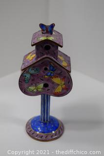 Enamel Bird House Trinket Box