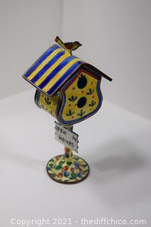 Kelvin Chen Enamel Bird House Trinket Box No 344 @ 1999