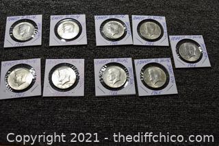 9 Kennedy Half Dollars - 40% Silver