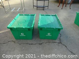 2 Flip Top Green Crates