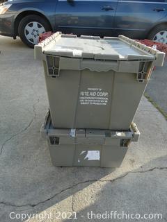 2 Flip Top Gray Crate & Tote