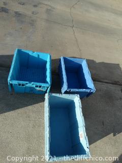 3 Flip Top Blue Totes
