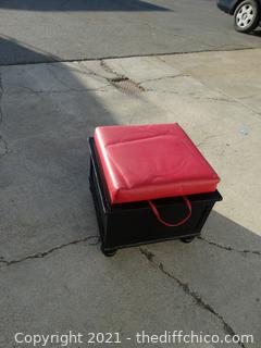 "Square Ottoman With Red Cushion with Storage  17"" x 18 1/4"""