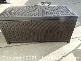"Plastic Wicker Outdoor Storage Chest 21 1/2"" X 45 1/2"" X 22"""