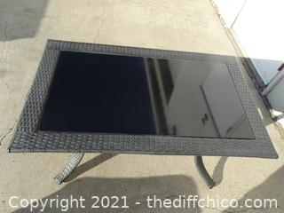 "Wicker Table With Glass 22 1/2"" X 43"" X 26"""