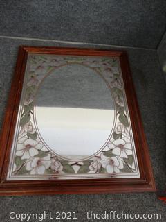 """Flower Etched Mirror 22 1/2"""" x 18 3/4"""""""