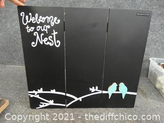 Welcome To Our Nest Wood Chalk Picture with Chalk