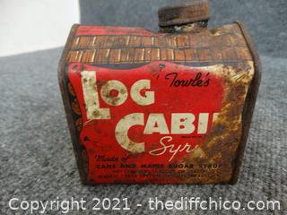 Vintage Log Cabin Syrup Tin