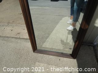 """Wood Framed Mirror 50"""" X  22"""""""