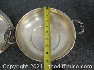 English Silver Dish With Lid