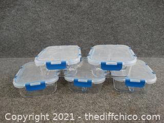 Glass Portioned Dishes With LIDS