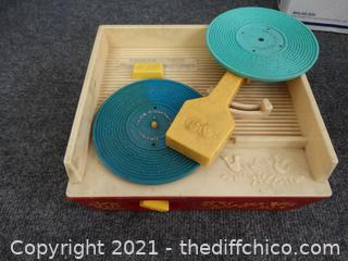 Vintage Kids Plastic Record Player With 2 Records