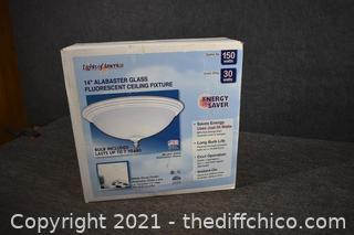 NIB 14in Glass Fluorescent Ceiling Light