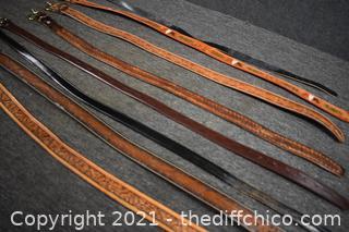 8 Leather Belts - 38in long