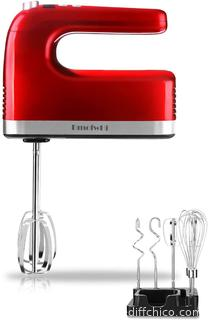 DmofwHi 9-Speed Electric Hand Mixer with Digital Screen and Timer, Kitchen Handheld Mixer with 6 Stainless Steel Attachments and Storage Case - Empire Red