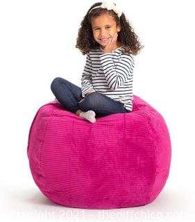 """Creative QT Stuffed Animal Storage Bean Bag Chair - Large Stuff 'n Sit Organization for Kids Toy Storage - Available in a Variety of Sizes and Colors (33"""", Hot Pink Corduroy)"""