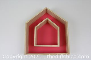 2PCS Wooden House-Shaped Wall Storage Shelf Kid's Room Decoration(Pink)