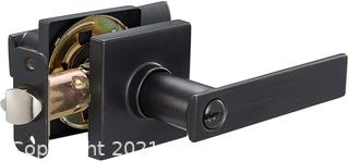 Amazon Basics Contemporary Stamford Door Lever with Lock, Entry, Oil Rubbed Bronze