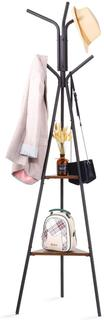 HOUSE DAY Entryway Coat Rack Stand Metal Coat Tree with 2 Shelves, Premium Coat Holder for Clothes, Hat, Bag, Purse, Umbrella, Vintage Style