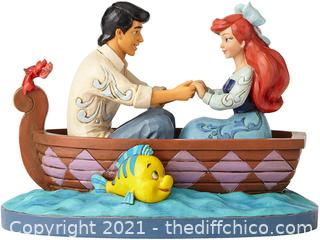 ($58.99)Enesco Disney Traditions by Jim Shore The Little Mermaid Ariel and Prince Eric in Rowboat Figurine, 6.126 Inch, Multicolor