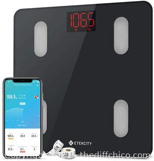 Etekcity Scales for Body Weight, Bathroom Digital Weight Scale for Body Fat, Smart Bluetooth Scale for BMI, and Weight Loss, Sync 13 Data with Other Fitness Apps, Black, 11x11 Inch