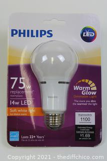Philips 75W Equivalent Soft White Household A21 Dimmable LED with Warm