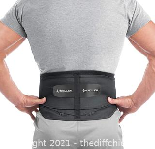Mueller 255 Lumbar Support Back Brace with Removable Pad, Black, Regular