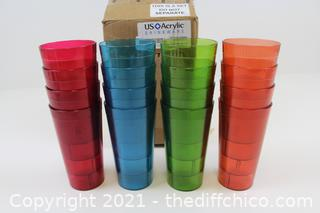 20-ounce Plastic Restaurant-Style Tumblers | set of 12 in 4 Assorted Colors