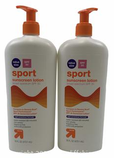 Lot of 2 Up & Up SPF 30 SPORT Sunscreen Lotion 16 oz