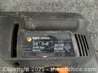 "Black & Decker 3/8""  Electric Drill wks"