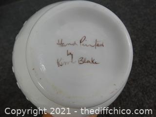 "Fenton Hand Painted Milk Glass Vase 8"""