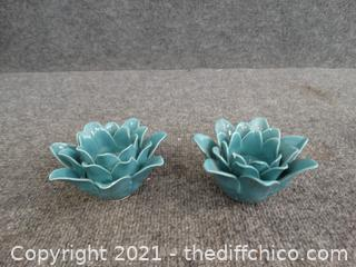 Teal Flower Candle Holders